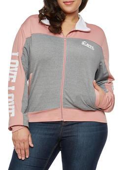 Plus Size Love Graphic Zip Jacket - 1932072291921