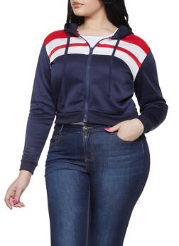 Plus Size Color Block Hooded Sweatshirt - 1932074718050