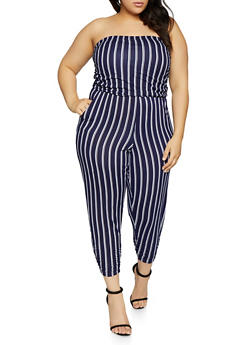 Plus Size Striped Strapless Jumpsuit - 1933015990074