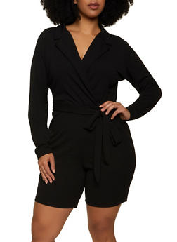 Plus Size Collared Faux Wrap Romper - 1933015990280
