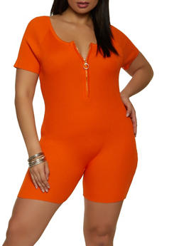 Plus Size Half Zip Ribbed Knit Romper - 1933015992370