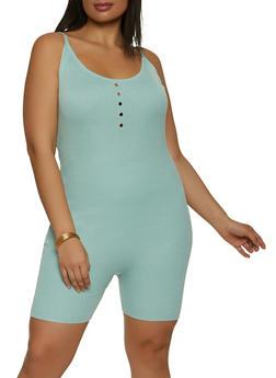 Plus Size Rib Knit Cami Romper - 1933015992770