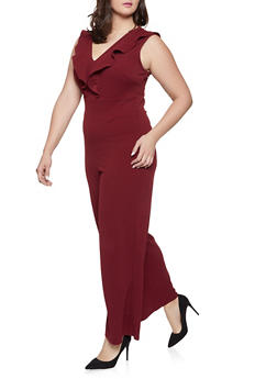 Plus Size Open Back Ruffled Jumpsuit - 1933015993856