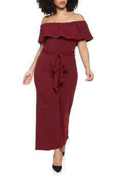 Plus Size Off the Shoulder Palazzo Jumpsuit - 1933015993900