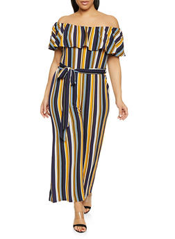 d3c88bfa4ae Plus Size Striped Off the Shoulder Jumpsuit - 1933015993910