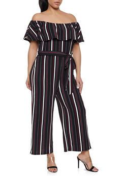 Plus Size Striped Off the Shoulder Jumpsuit - 1933015993910