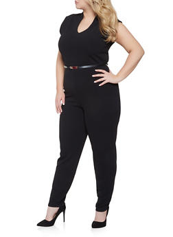 b342e5a10f5 Plus Size Belted Jumpsuit - 1933015994695