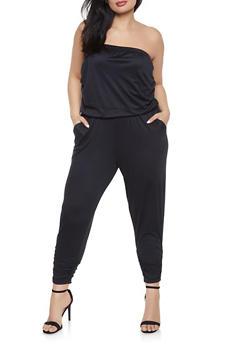 Plus Size Ruched Strapless Jumpsuit - 1933015995016