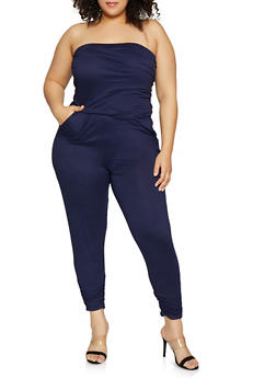 Plus Size Ruched Strapless Jumpsuit - 1933015995016