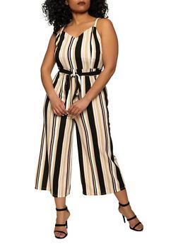 Plus Size Textured Knit Striped Jumpsuit - 1933015996974