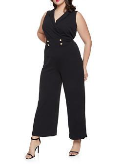 Plus Size Wide Leg Sailor Jumpsuit - 1933015997202
