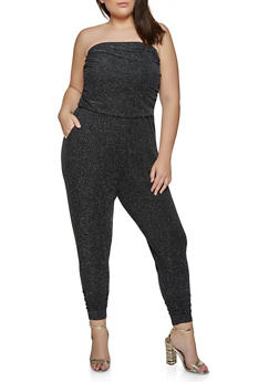 Plus Size Strapless Lurex Jumpsuit - 1933015998110