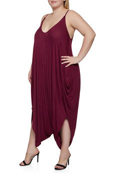 Plus Size Solid Harem Jumpsuit - 1933062705624