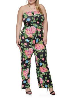 Plus Size Drawstring Front Floral Jumpsuit - 1933062705700
