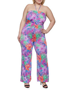 Plus Size Drawstring Front Floral Jumpsuit - PURPLE - 1933062705700
