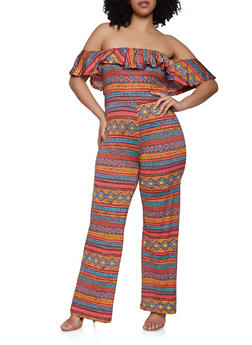 07a21e53520 Plus Size Printed Off the Shoulder Palazzo Jumpsuit - RUST - 1933062707117