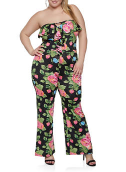 Plus Size Ruffle Printed Tube Jumpsuit - 1933062707118