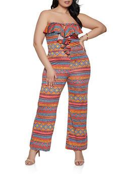 Plus Size Ruffle Printed Tube Jumpsuit - 1933062707118