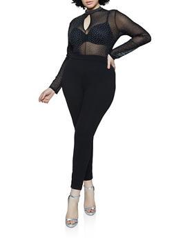 Plus Size Studded Mesh Jumpsuit - 1933069397670