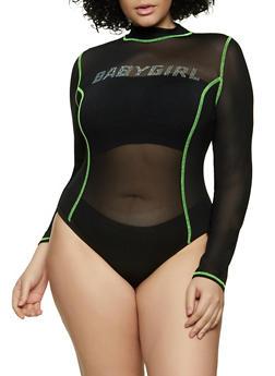 Plus Size Babygirl Mesh Bodysuit - 1935069390612