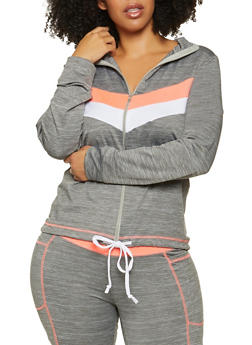Plus Size Chevron Active Zip Sweatshirt - 1942038347620