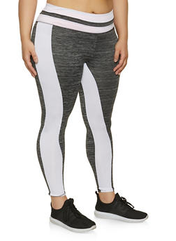Plus Size Active Color Block Leggings - 1942038347671