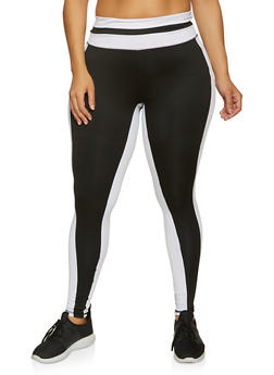 Plus Size Active Color Block Leggings - 1942038347671