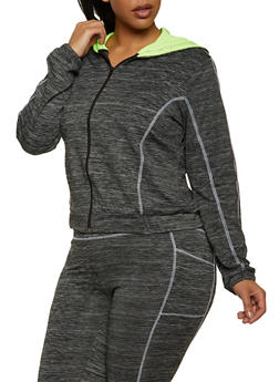 Plus Size Zip Front Active Sweatshirt - 1942038347700