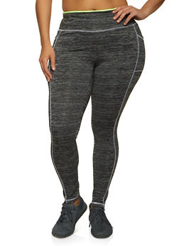 Plus Size Decorative Stitch Active Leggings - 1942038347701