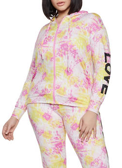 Plus Size Love Tie Dye Zip Sweatshirt - 1951001440080