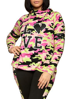 Plus Size Tie Dye Love Stripe Graphic Hooded Sweatshirt - 1951001440090