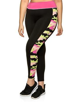 Plus Size Soft Knit Printed Side Detail Leggings - 1951001440091