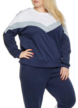 Plus Size Chevron Color Block Sweatshirt - 1951001441030
