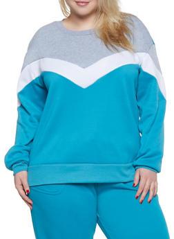 Plus Size Chevron Color Block Sweatshirt - 1951001441030