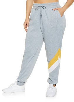 Plus Size Diagonal Chevron Joggers - 1951001441031