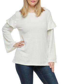 Plus Size High Low Ruffle Sweatshirt - 1951001441697