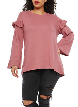 Plus Size High Low Ruffle Sweatshirt - 1951001441697