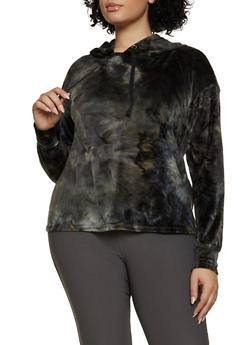 Plus Size Velour Tie Dye Sweatshirt - 1951001447710