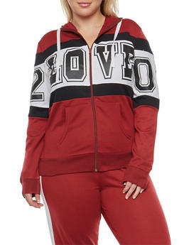 Plus Size Color Block Love Graphic Zip Front Sweatshirt - 1951038340043