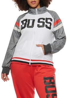 Plus Size Boss Graphic Zip Up Sweatshirt - 1951038340045