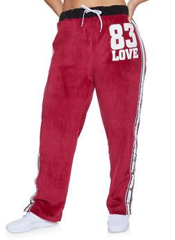 Plus Size Love Graphic Flyaway Velour Sweatpants - 1951038340094
