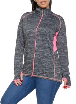 Plus Size Zip Front Activewear Top - 1951038340618