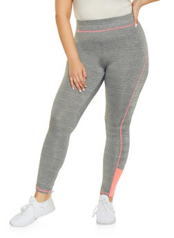 c511e0abb Plus Size Contrast Trim Activewear Leggings - 1951038340619