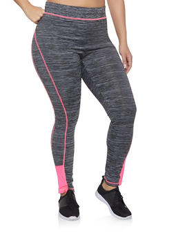 Plus Size Contrast Trim Activewear Leggings - 1951038340619
