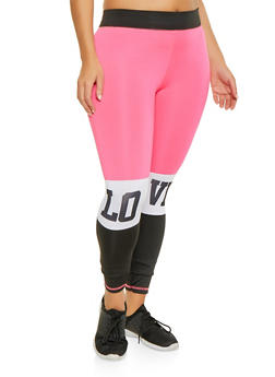 Plus Size Color Block Love Graphic Leggings - 1951038340688
