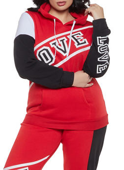 Plus Size Color Block Love Sweatshirt - 1951038340701
