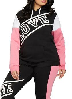8c0b3a6bd7d Plus Size Color Block Love Sweatshirt - 1951038340701