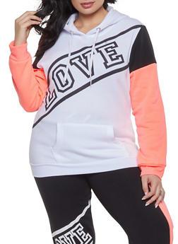 Plus Size Color Block Love Sweatshirt - 1951038340701