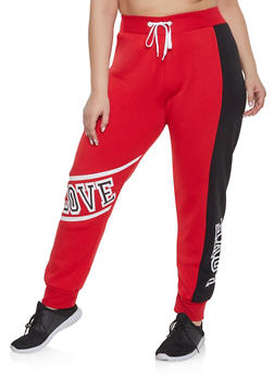 Plus Size Love Graphic Sweatpants - 1951038340702