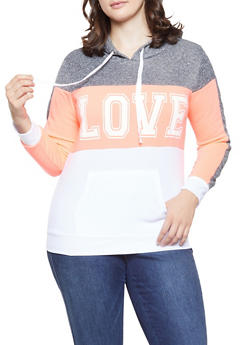 Plus Size Love Graphic Color Blocked Sweatshirt - 1951038340706